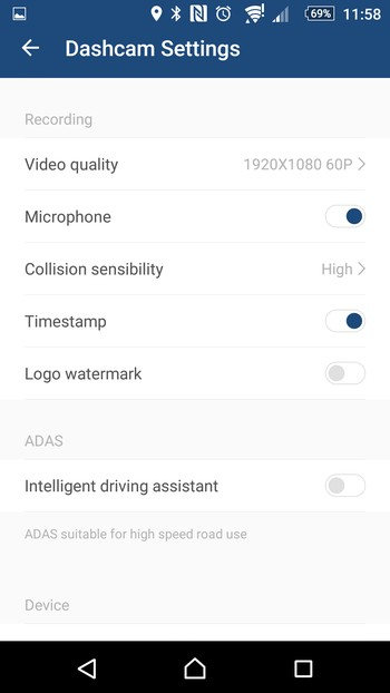 Yi Dashcam app